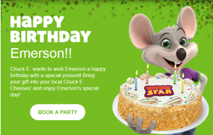 happy birthday from chuck e cheese