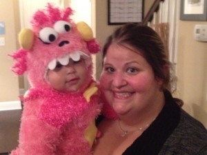 mom and halloween monster