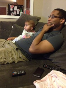 watching a movie with dad